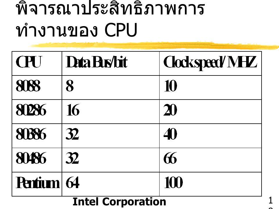 พิจารณาประสิทธิภาพการ ทำงานของ CPU Intel Corporation 1818