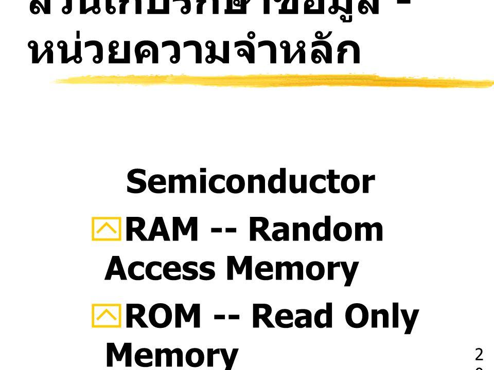 ส่วนเก็บรักษาข้อมูล - หน่วยความจำหลัก Semiconductor  RAM -- Random Access Memory  ROM -- Read Only Memory  EROM, PROM, EPROM 2020