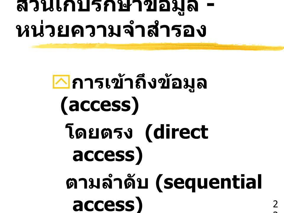 ส่วนเก็บรักษาข้อมูล - หน่วยความจำสำรอง  การเข้าถึงข้อมูล (access) โดยตรง (direct access) ตามลำดับ (sequential access) 2323