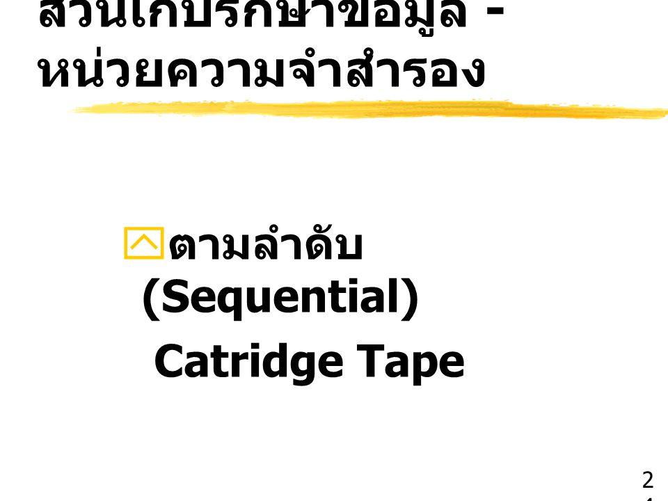 ส่วนเก็บรักษาข้อมูล - หน่วยความจำสำรอง  ตามลำดับ (Sequential) Catridge Tape 2424