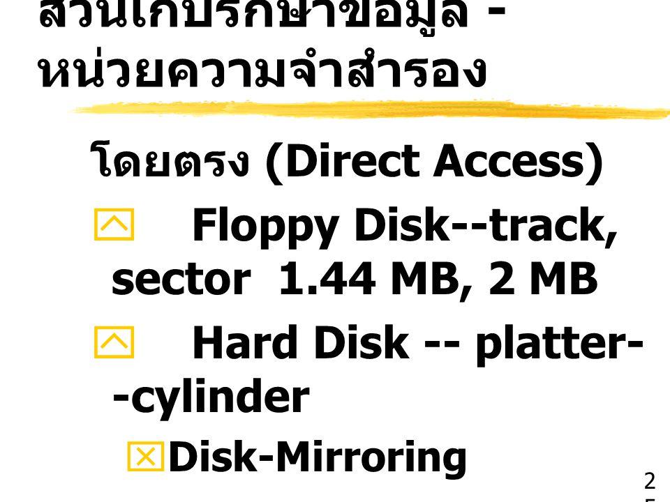 ส่วนเก็บรักษาข้อมูล - หน่วยความจำสำรอง โดยตรง (Direct Access)  Floppy Disk--track, sector 1.44 MB, 2 MB  Hard Disk -- platter- -cylinder  Disk-Mirr