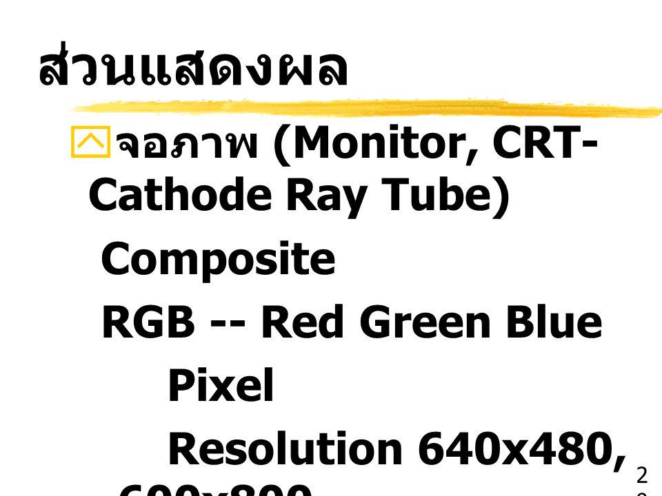 ส่วนแสดงผล  จอภาพ (Monitor, CRT- Cathode Ray Tube) Composite RGB -- Red Green Blue Pixel Resolution 640x480, 600x800 2929