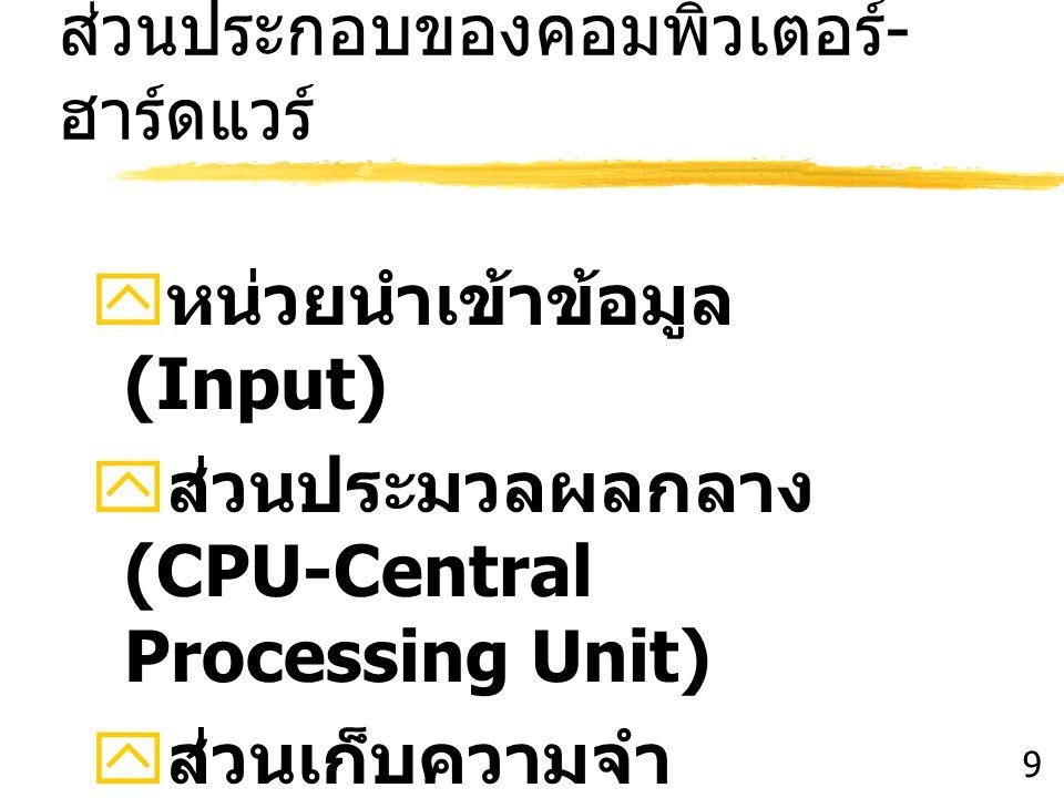 ส่วนประกอบของคอมพิวเตอร์ - ฮาร์ดแวร์  หน่วยนำเข้าข้อมูล (Input)  ส่วนประมวลผลกลาง (CPU-Central Processing Unit)  ส่วนเก็บความจำ (Memory Unit)  ส่ว