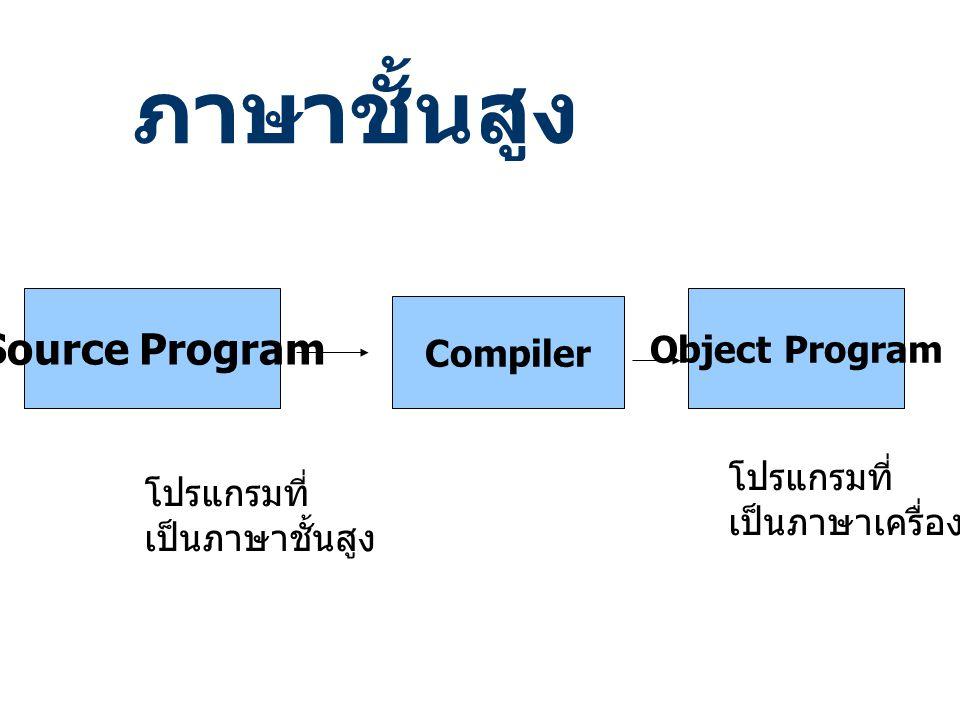 ภาษาชั้นสูง Source Program Compiler Object Program โปรแกรมที่ เป็นภาษาชั้นสูง โปรแกรมที่ เป็นภาษาเครื่อง