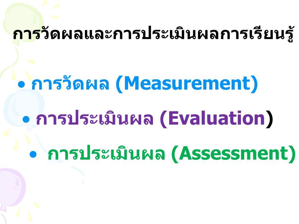 การวัดผลและการประเมินผลการเรียนรู้  การวัดผล (Measurement)  การประเมินผล (Evaluation)  การประเมินผล (Assessment)