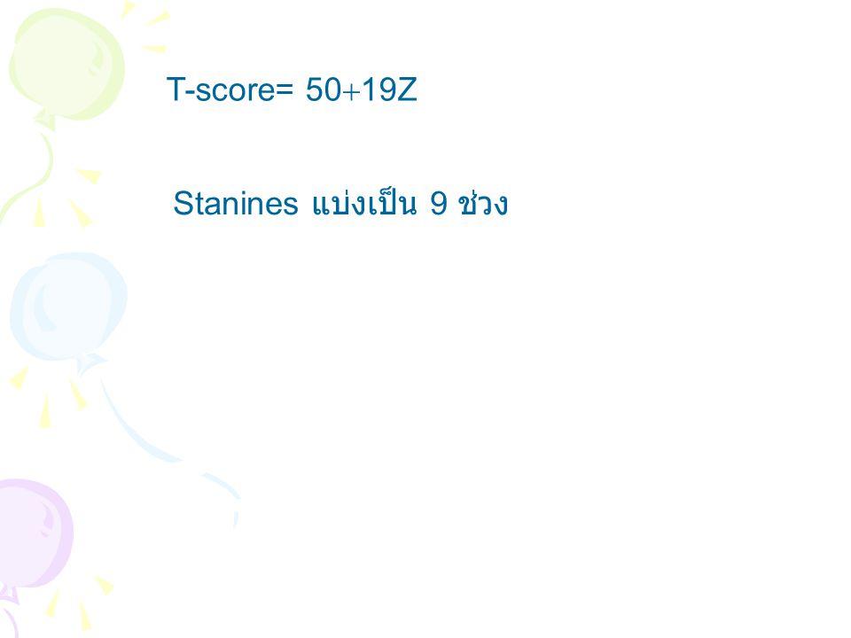 T-score= 50  19Z Stanines แบ่งเป็น 9 ช่วง
