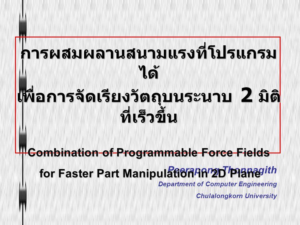 Peerapong Thonnagith Department of Computer Engineering Chulalongkorn University การผสมผลานสนามแรงที่โปรแกรม ได้ เพื่อการจัดเรียงวัตถุบนระนาบ 2 มิติ ท