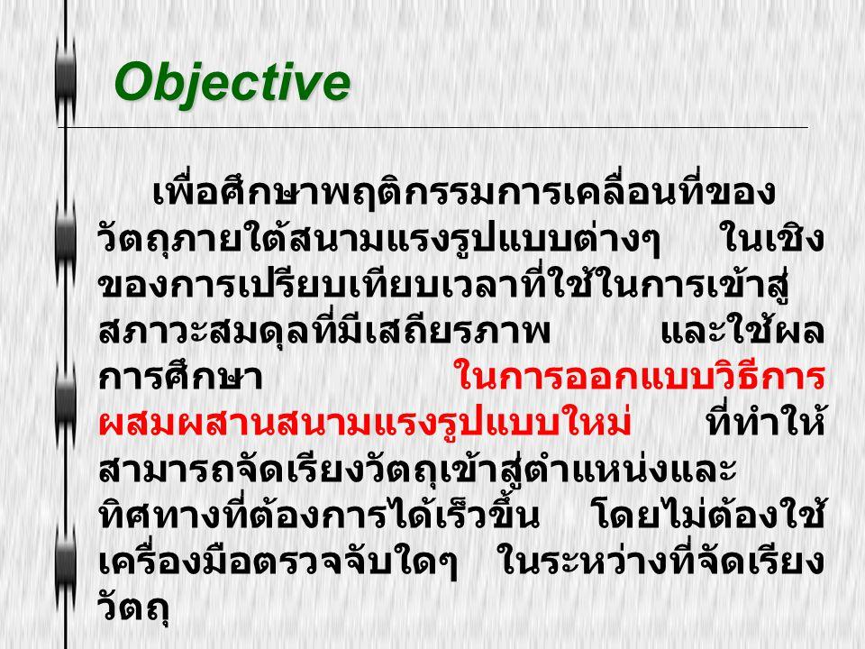 Objective Objective เพื่อศึกษาพฤติกรรมการเคลื่อนที่ของ วัตถุภายใต้สนามแรงรูปแบบต่างๆ ในเชิง ของการเปรียบเทียบเวลาที่ใช้ในการเข้าสู่ สภาวะสมดุลที่มีเสถ