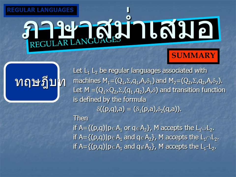 Let L 1 L 2 be regular languages associated with machines M 1 =(Q 1, ,q 1,A,  1 ) and M 2 =(Q 2, ,q 2,A,  2 ). Let M =(Q 1  Q 2, ,(q 1,q 2 ),A,
