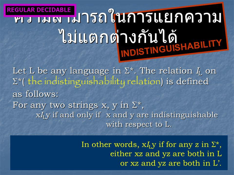 INDISTINGUISHABILITY ความสามารถในการแยกความ ไม่แตกต่างกันได้ Let L be any language in  *.