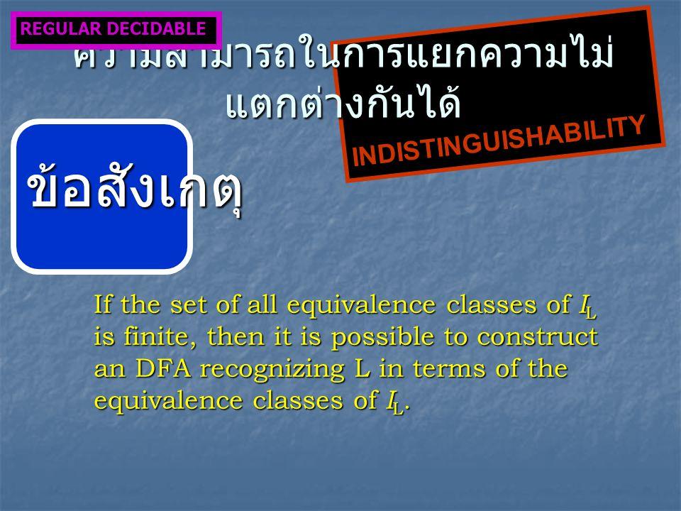 INDISTINGUISHABILITY ความสามารถในการแยกความไม่ แตกต่างกันได้ REGULAR DECIDABLE ข้อสังเกตุ If the set of all equivalence classes of I L is finite, then it is possible to construct an DFA recognizing L in terms of the equivalence classes of I L.