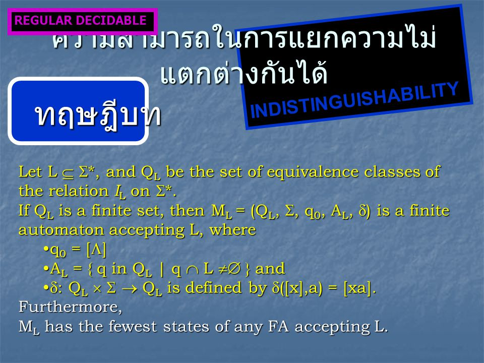 Let L   *, and Q L be the set of equivalence classes of the relation I L on  *. If Q L is a finite set, then M L = (Q L, , q 0, A L,  ) is a fini
