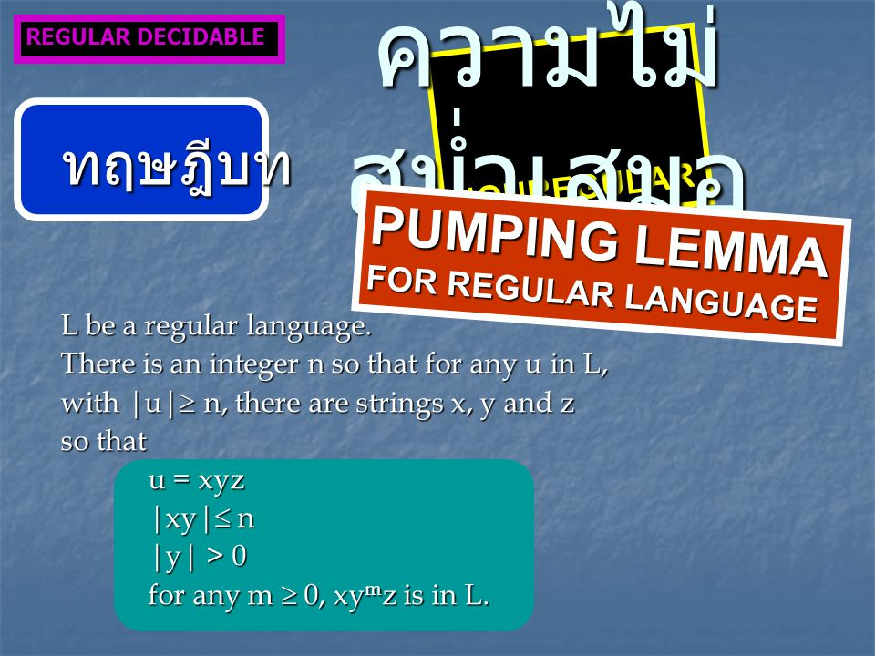 NONREGULAR ความไม่ สม่ำเสมอ REGULAR DECIDABLE ทฤษฎีบท PUMPING LEMMA FOR REGULAR LANGUAGE L be a regular language. There is an integer n so that for an