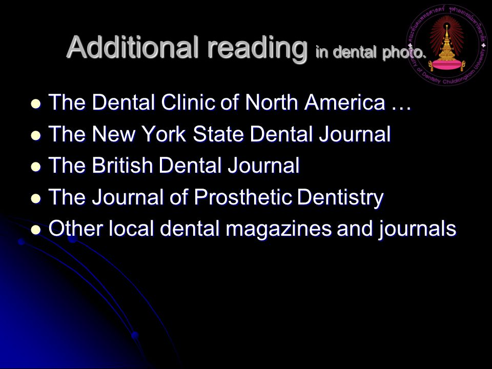 Additional reading in dental photo.