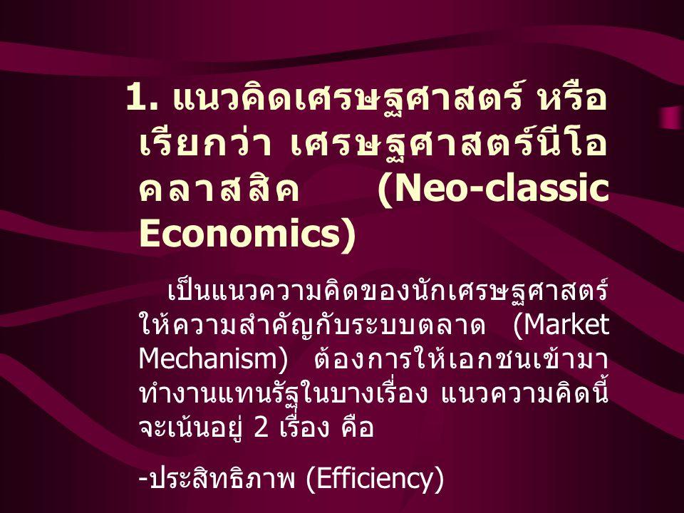 1. แนวคิดเศรษฐศาสตร์ หรือ เรียกว่า เศรษฐศาสตร์นีโอ คลาสสิค (Neo-classic Economics) เป็นแนวความคิดของนักเศรษฐศาสตร์ ให้ความสำคัญกับระบบตลาด (Market Mec
