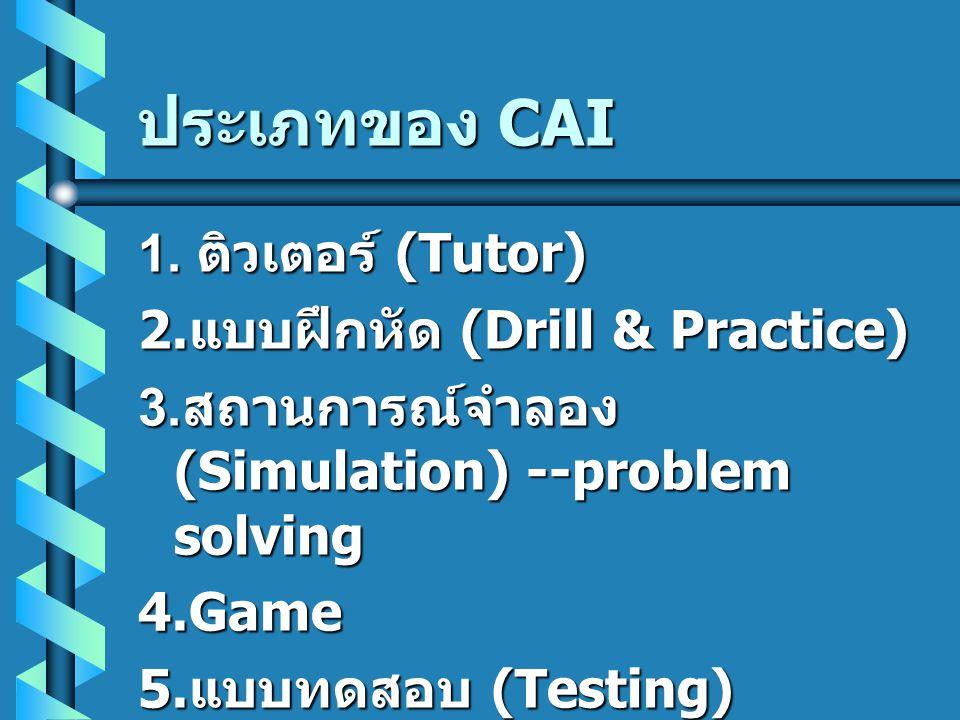 ประเภทของ CAI 1. ติวเตอร์ (Tutor) 2. แบบฝึกหัด (Drill & Practice) 3. สถานการณ์จำลอง (Simulation) --problem solving 4.Game 5. แบบทดสอบ (Testing)