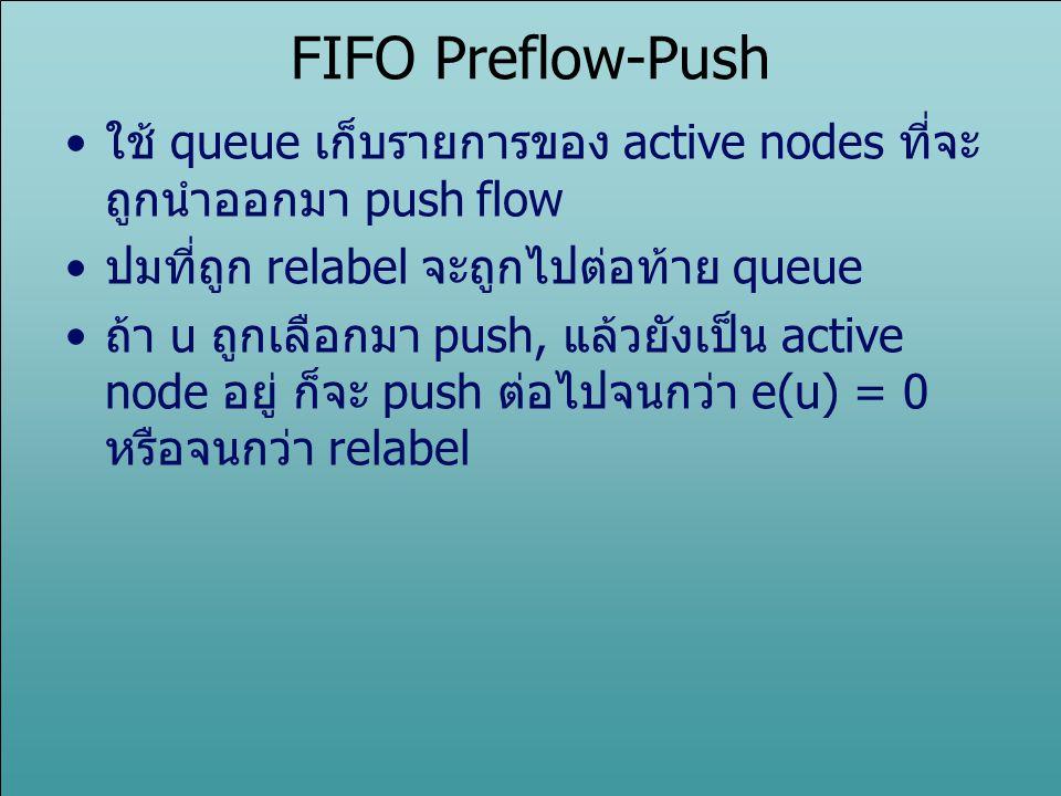FIFO Preflow-Push ใช้ queue เก็บรายการของ active nodes ที่จะ ถูกนำออกมา push flow ปมที่ถูก relabel จะถูกไปต่อท้าย queue ถ้า u ถูกเลือกมา push, แล้วยัง