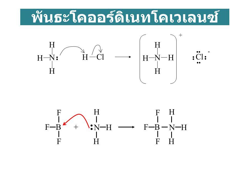 พันธะโคออร์ดิเนทโคเวเลนซ์ H N H H H N H H H H + Cl Cl - N H H H F B F F + F F N H H H