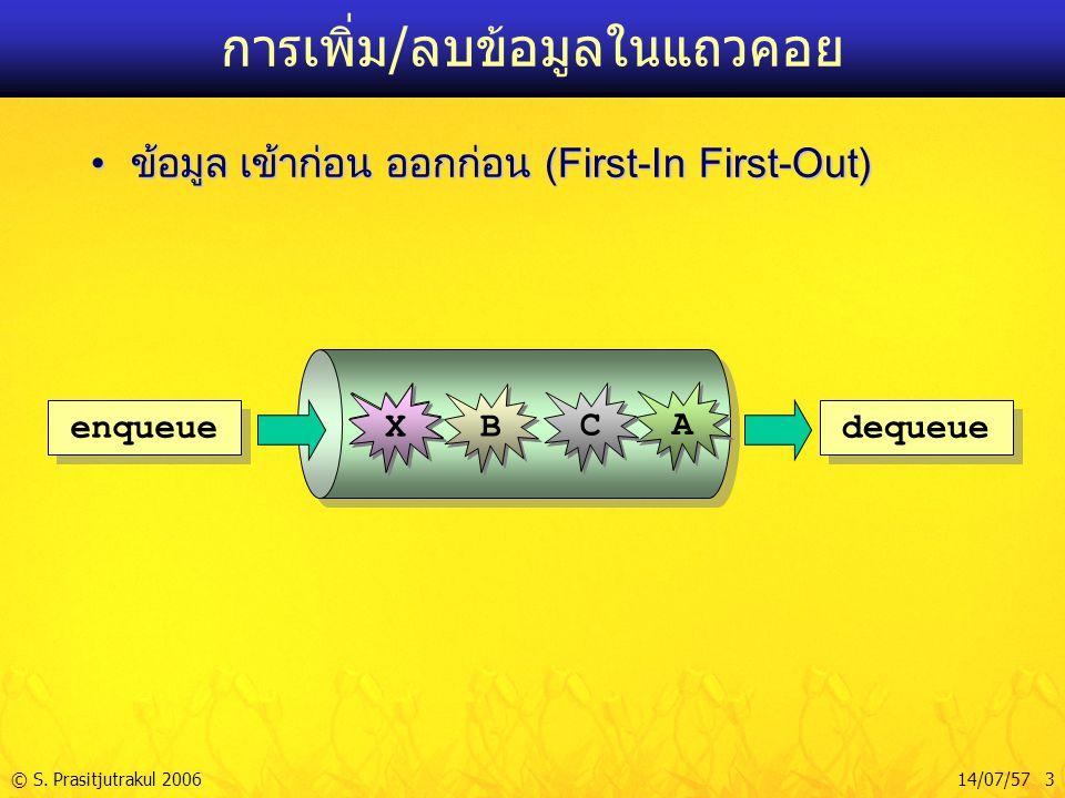 © S. Prasitjutrakul 200614/07/57 3 การเพิ่ม/ลบข้อมูลในแถวคอย ข้อมูล เข้าก่อน ออกก่อน (First-In First-Out)ข้อมูล เข้าก่อน ออกก่อน (First-In First-Out)