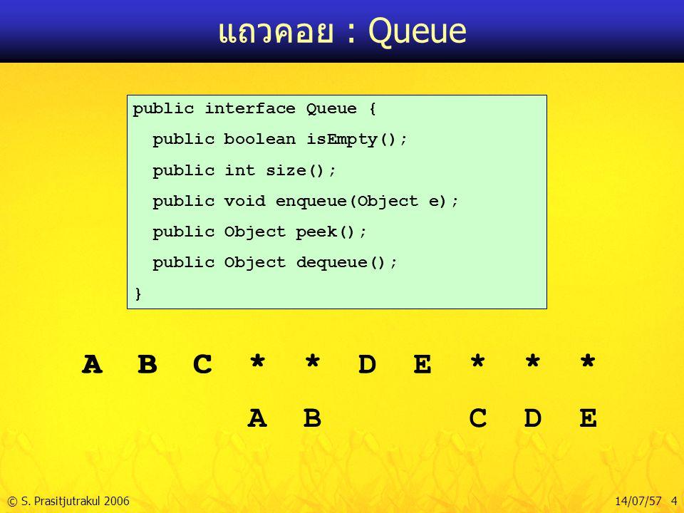 © S. Prasitjutrakul 200614/07/57 4 แถวคอย : Queue public interface Queue { public boolean isEmpty(); public int size(); public void enqueue(Object e);