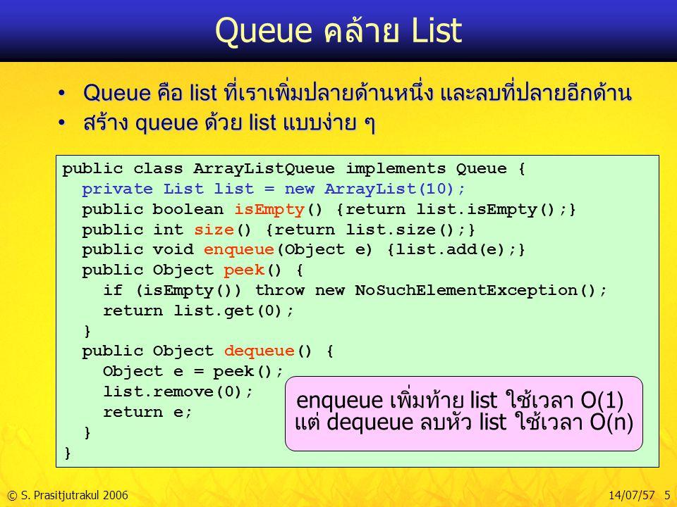 © S. Prasitjutrakul 200614/07/57 5 Queue คล้าย List Queue คือ list ที่เราเพิ่มปลายด้านหนึ่ง และลบที่ปลายอีกด้านQueue คือ list ที่เราเพิ่มปลายด้านหนึ่ง