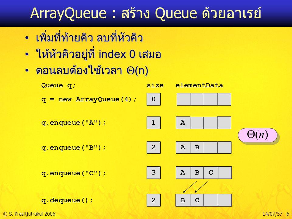 © S. Prasitjutrakul 200614/07/57 6 ArrayQueue : สร้าง Queue ด้วยอาเรย์ เพิ่มที่ท้ายคิว ลบที่หัวคิวเพิ่มที่ท้ายคิว ลบที่หัวคิว ให้หัวคิวอยู่ที่ index 0