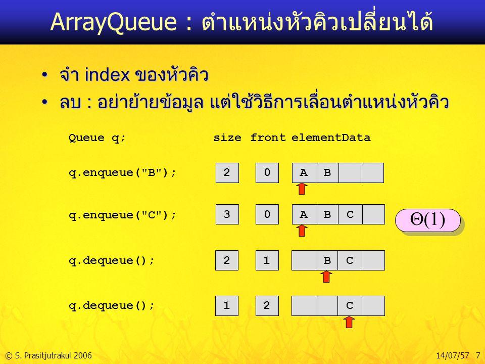 © S. Prasitjutrakul 200614/07/57 7 ArrayQueue : ตำแหน่งหัวคิวเปลี่ยนได้ จำ index ของหัวคิวจำ index ของหัวคิว ลบ : อย่าย้ายข้อมูล แต่ใช้วิธีการเลื่อนตำ