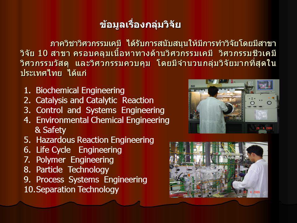 ภาควิชาวิศวกรรมเคมี ได้รับการสนับสนุนให้มีการทำวิจัยโดยมีสาขา วิจัย 10 สาขา ครอบคลุมเนื้อหาทางด้านวิศวกรรมเคมี วิศวกรรมชีวเคมี วิศวกรรมวัสดุ และวิศวกรรมควบคุม โดยมีจำนวนกลุ่มวิจัยมากที่สุดใน ประเทศไทย ได้แก่ ภาควิชาวิศวกรรมเคมี ได้รับการสนับสนุนให้มีการทำวิจัยโดยมีสาขา วิจัย 10 สาขา ครอบคลุมเนื้อหาทางด้านวิศวกรรมเคมี วิศวกรรมชีวเคมี วิศวกรรมวัสดุ และวิศวกรรมควบคุม โดยมีจำนวนกลุ่มวิจัยมากที่สุดใน ประเทศไทย ได้แก่ ข้อมูลเรื่องกลุ่มวิจัย 1.