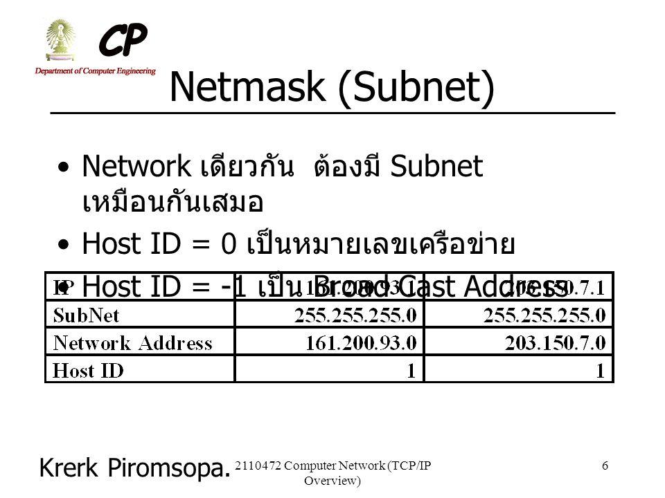 Krerk Piromsopa. 2110472 Computer Network (TCP/IP Overview) 6 Netmask (Subnet) Network เดียวกัน ต้องมี Subnet เหมือนกันเสมอ Host ID = 0 เป็นหมายเลขเคร