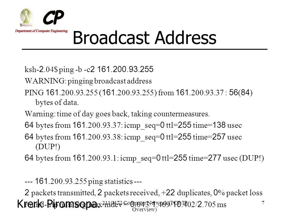 Krerk Piromsopa. 2110472 Computer Network (TCP/IP Overview) 7 Broadcast Address ksh-2.04$ ping -b -c2 161.200.93.255 WARNING: pinging broadcast addres