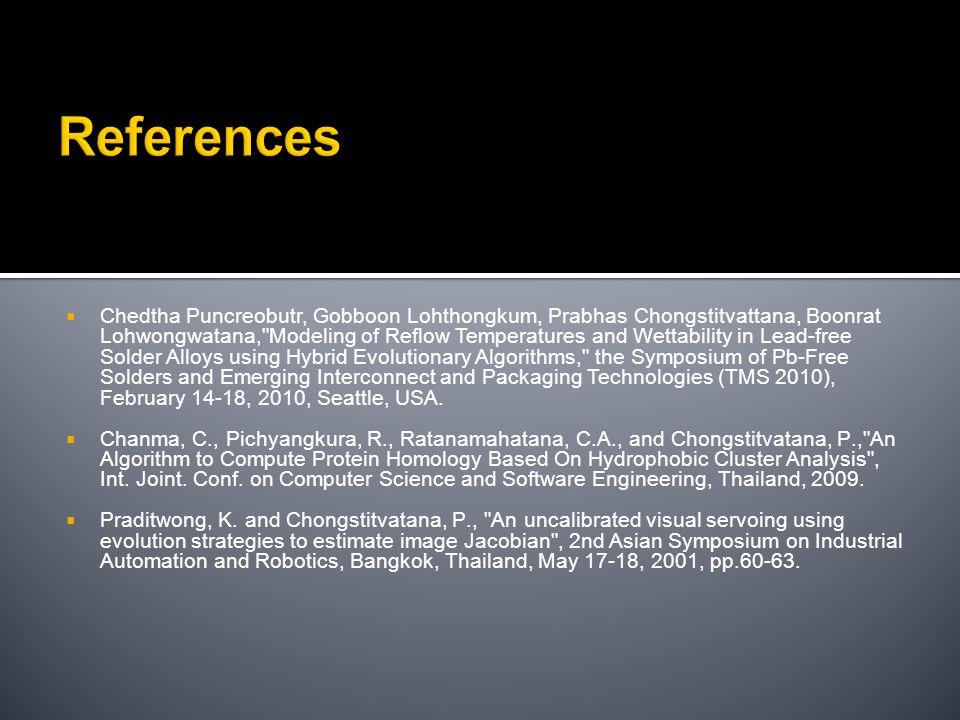 References  Chedtha Puncreobutr, Gobboon Lohthongkum, Prabhas Chongstitvattana, Boonrat Lohwongwatana,