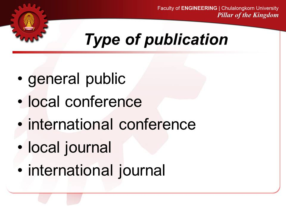 Type of publication general public local conference international conference local journal international journal