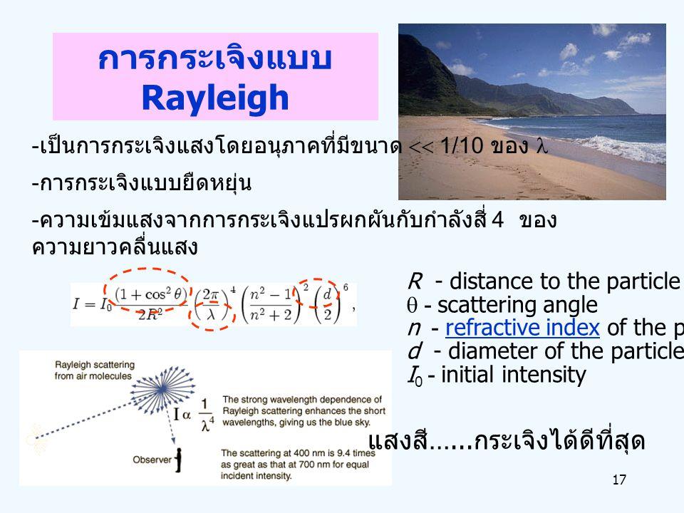 17 การกระเจิงแบบ Rayleigh - เป็นการกระเจิงแสงโดยอนุภาคที่มีขนาด  1/10 ของ - การกระเจิงแบบยืดหยุ่น - ความเข้มแสงจากการกระเจิงแปรผกผันกับกำลังสี่ 4 ขอ