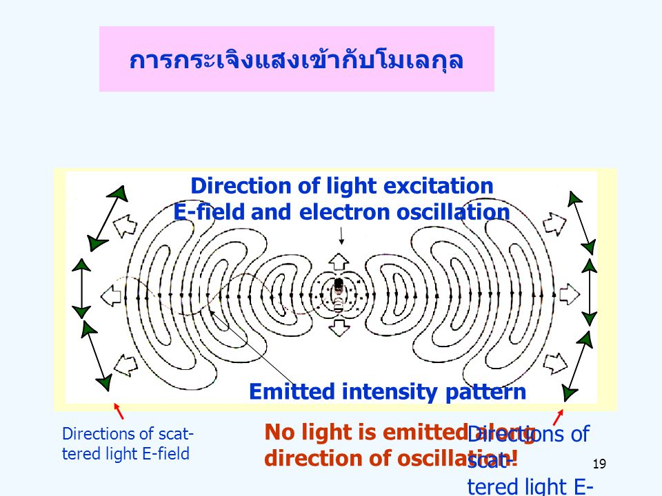 19 การกระเจิงแสงเข้ากับโมเลกุล Directions of scat- tered light E-field No light is emitted along direction of oscillation! Directions of scat- tered l