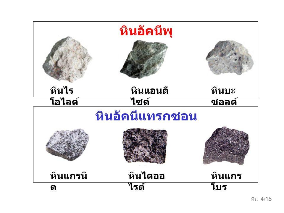 หิน 4/15 หินไดออ ไรต์ หินแกรนิ ต หินแกร โบร หินอัคนีแทรกซอน หินแอนดี ไซต์ หินบะ ซอลต์ หินไร โอไลต์ หินอัคนีพุ