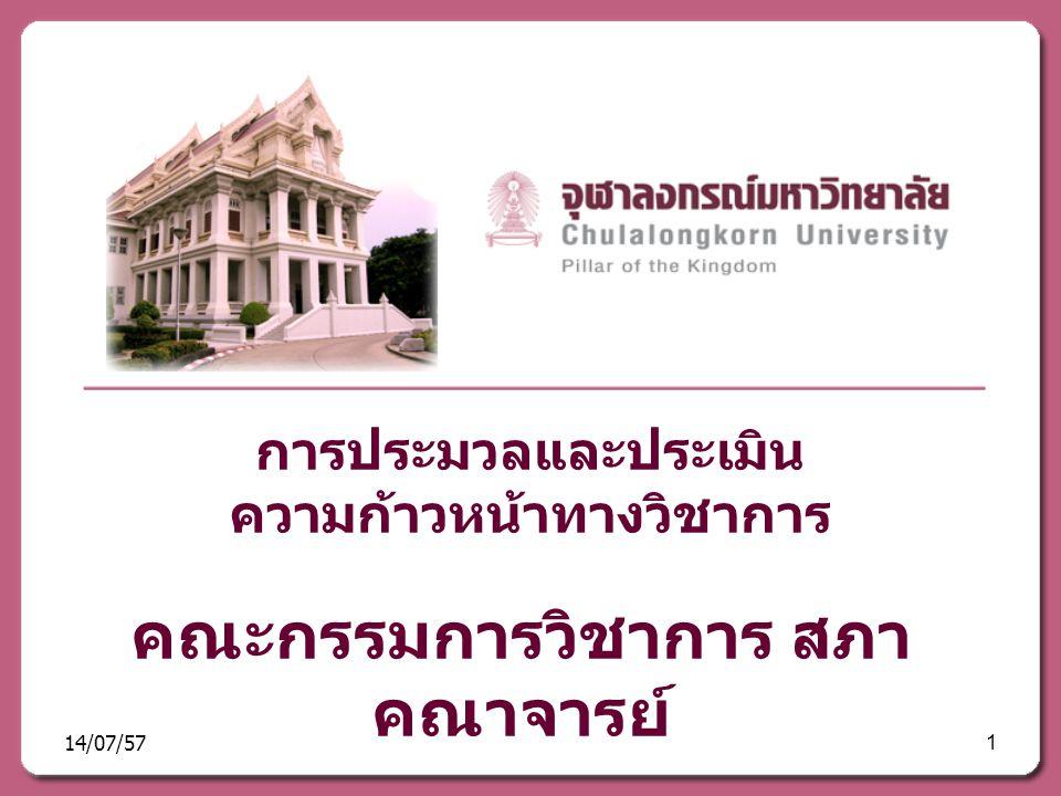 การประมวลและประเมิน ความก้าวหน้าทางวิชาการ คณะกรรมการวิชาการ สภา คณาจารย์ 14/07/571
