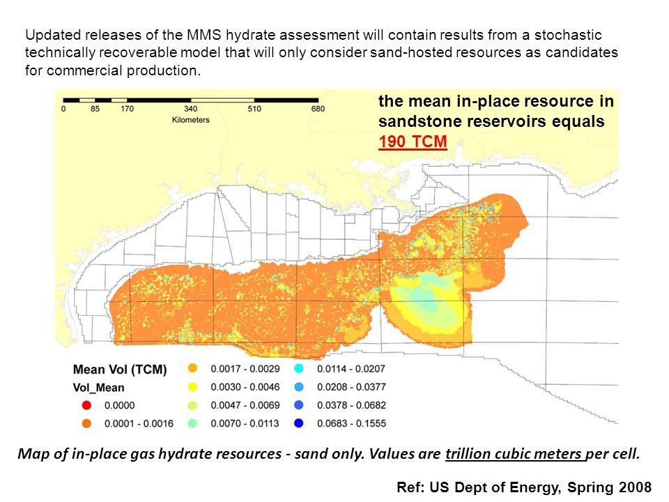 Map of in-place gas hydrate resources - sand only. Values are trillion cubic meters per cell. Ref: US Dept of Energy, Spring 2008 Updated releases of