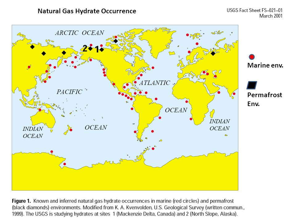 Map of in-place gas hydrate resources - sand only.