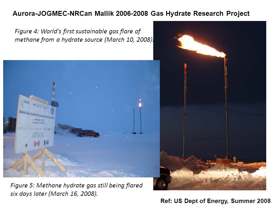 Aurora-JOGMEC-NRCan Mallik 2006-2008 Gas Hydrate Research Project Ref: US Dept of Energy, Summer 2008 Figure 4: World's first sustainable gas flare of