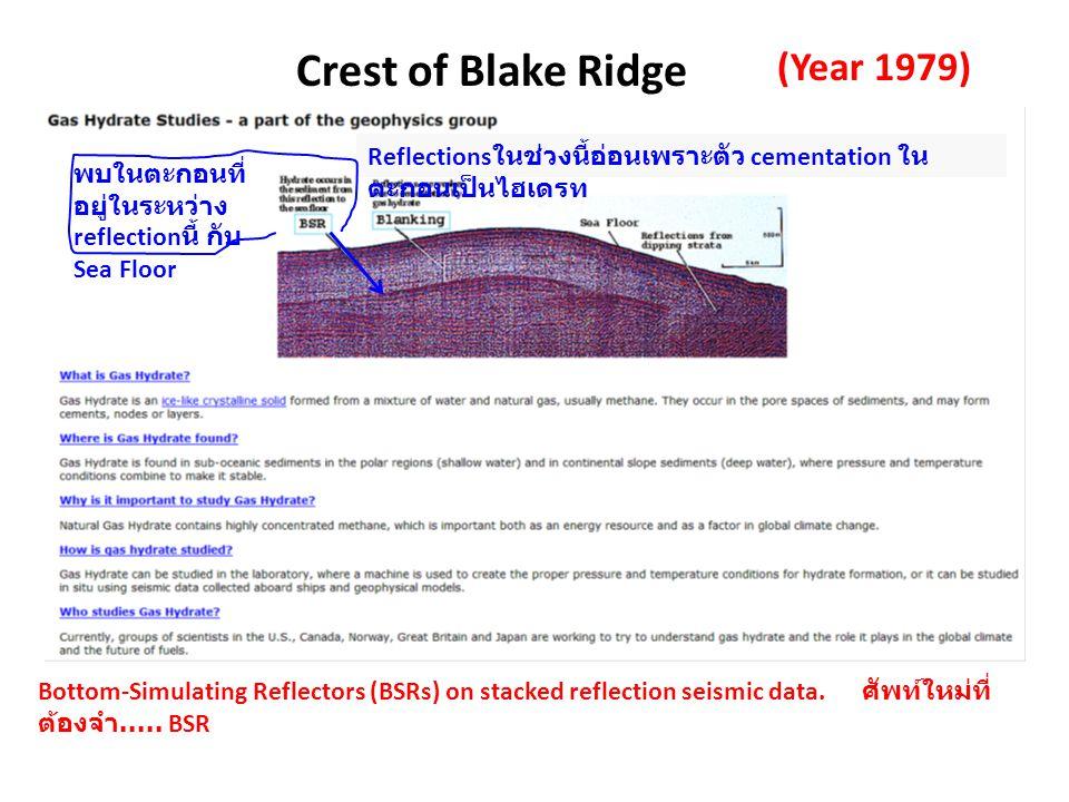 (Year 1979) พบในตะกอนที่ อยู่ในระหว่าง reflection นี้ กับ Sea Floor Reflections ในช่วงนี้อ่อนเพราะตัว cementation ใน ตะกอนเป็นไฮเดรท Crest of Blake Ri