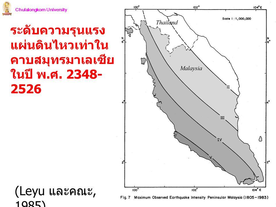 Chulalongkorn University ระดับความรุนแรง แผ่นดินไหวเท่าใน คาบสมุทรมาเลเซีย ในปี พ. ศ. 2348- 2526 (Leyu และคณะ, 1985)
