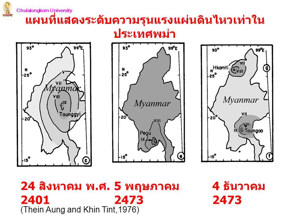 Chulalongkorn University 24 สิงหาคม พ. ศ. 2401 5 พฤษภาคม 2473 4 ธันวาคม 2473 (Thein Aung and Khin Tint,1976) แผนที่แสดงระดับความรุนแรงแผ่นดินไหวเท่าใน
