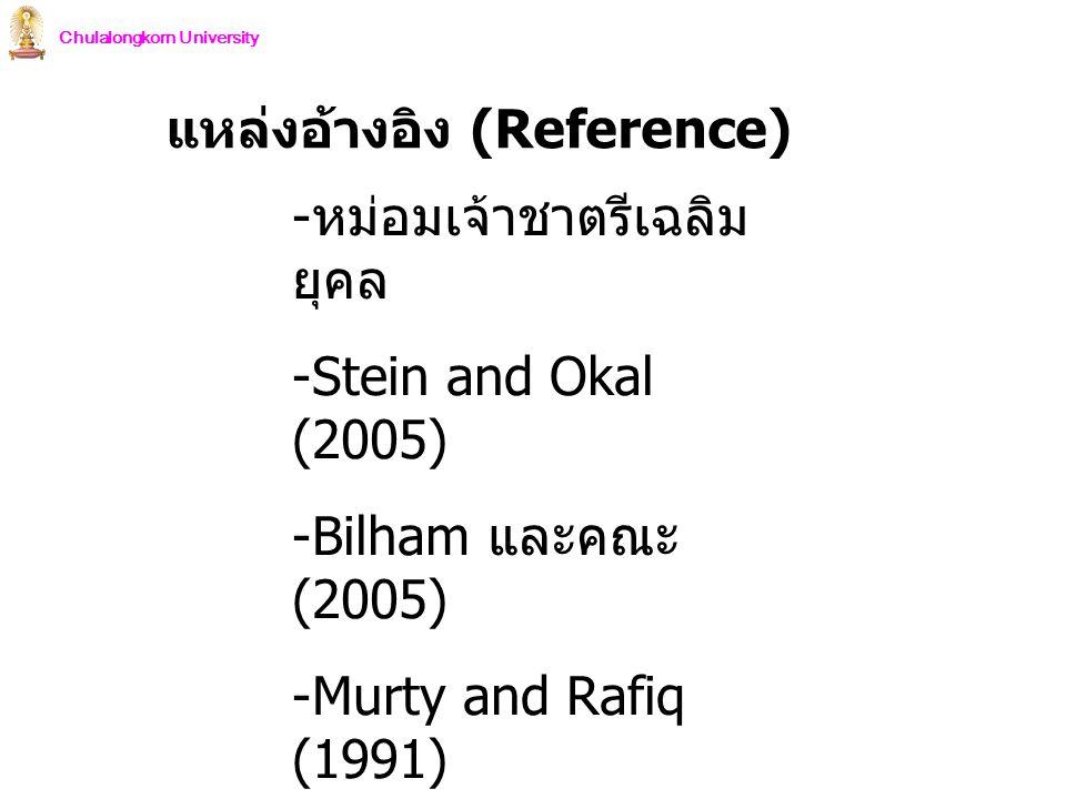 Chulalongkorn University แหล่งอ้างอิง (Reference) - หม่อมเจ้าชาตรีเฉลิม ยุคล -Stein and Okal (2005) -Bilham และคณะ (2005) -Murty and Rafiq (1991) - NO