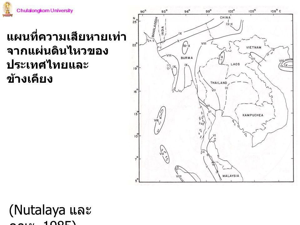 Chulalongkorn University แผนที่ความเสียหายเท่า จากแผ่นดินไหวของ ประเทศไทยและ ข้างเคียง (Nutalaya และ คณะ, 1985)