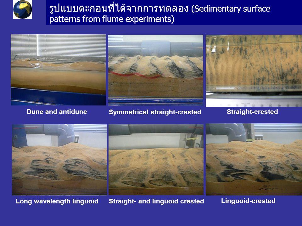 รูปแบบตะกอนที่ได้จากการทดลอง (Sedimentary surface patterns from flume experiments) Dune and antidune Symmetrical straight-crested Straight-crested Long wavelength linguoid Linguoid-crested Straight- and linguoid crested