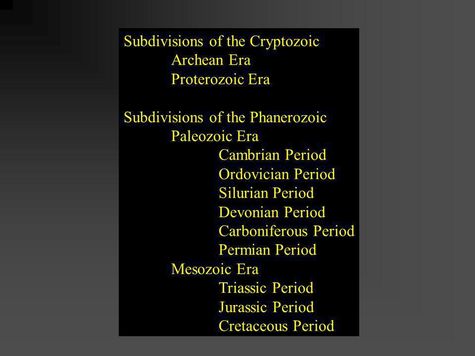 Subdivisions of the Cryptozoic Archean Era Proterozoic Era Subdivisions of the Phanerozoic Paleozoic Era Cambrian Period Ordovician Period Silurian Pe