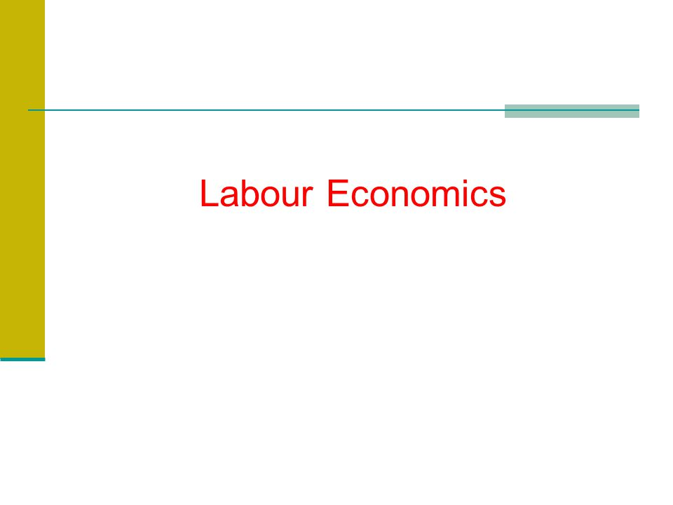 Introduction What do we learn in Labour Economics? ?