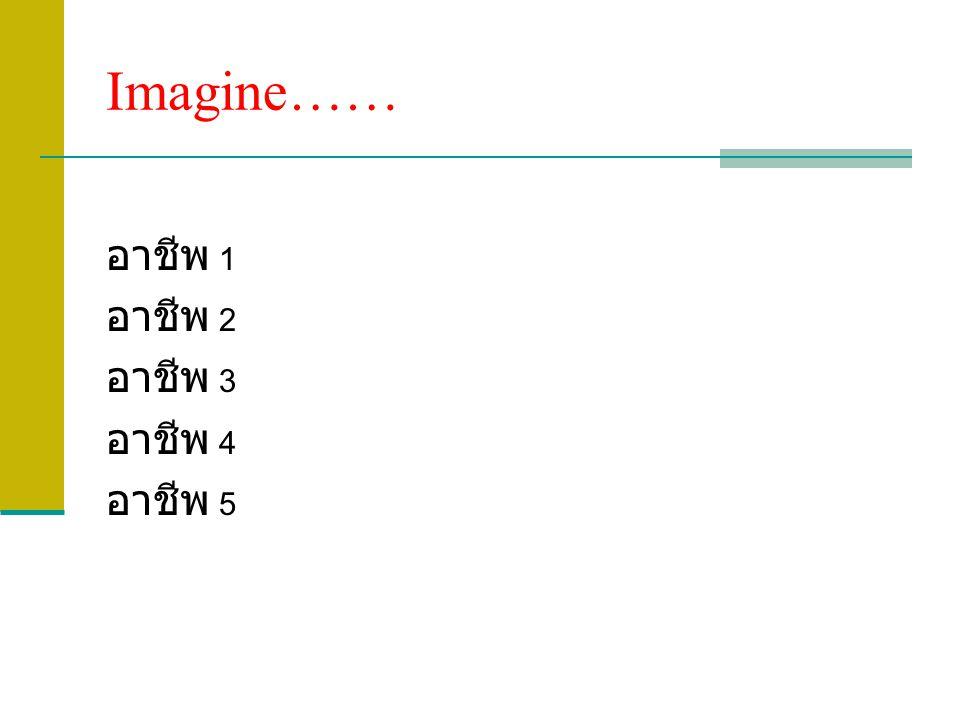 Imagine…… อาชีพ 1 อาชีพ 2 อาชีพ 3 อาชีพ 4 อาชีพ 5