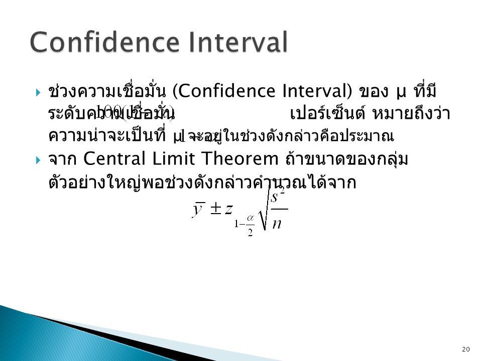  ช่วงความเชื่อมั่น (Confidence Interval) ของ μ ที่มี ระดับความเชื่อมั่น เปอร์เซ็นต์ หมายถึงว่า ความน่าจะเป็นที่ μ จะอยู่ในช่วงดังกล่าวคือประมาณ  จาก