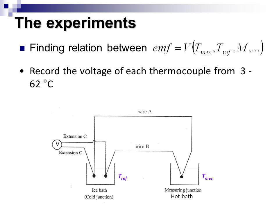 The experiments Finding relation between Record the voltage of each thermocouple from 3 - 62 °C T ref T mes Hot bath